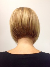 A Line Bob on Blonde Hair