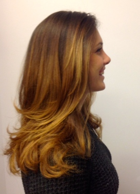Caramel Ombre and Beautiful Layered Haircut